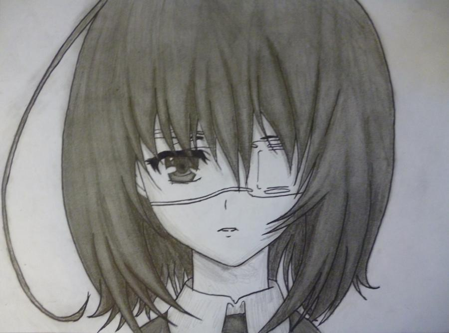 Как простым нарисовать Мэй Мисаки карандашами - фото 11