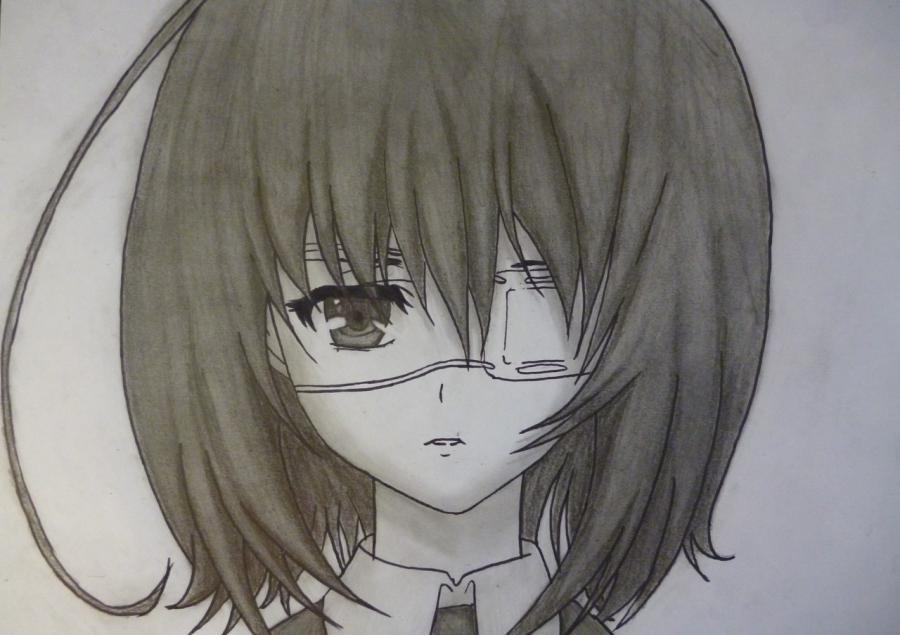 Как простым нарисовать Мэй Мисаки карандашами - фото 12