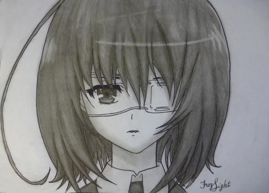 Как простым нарисовать Мэй Мисаки карандашами - фото 13