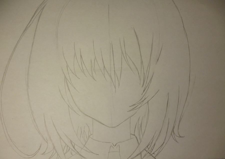 Как простым нарисовать Мэй Мисаки карандашами - шаг 2