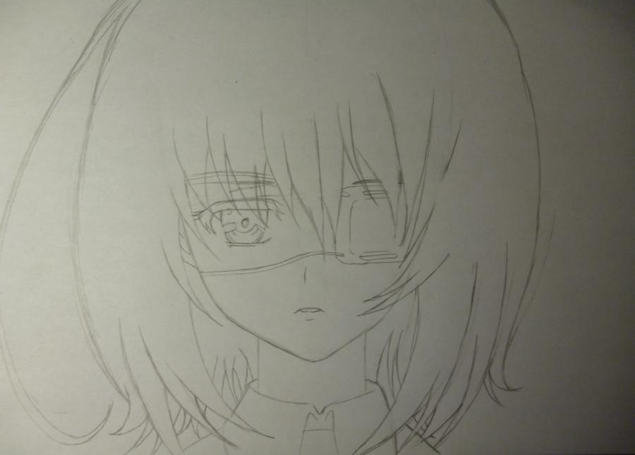 Как простым нарисовать Мэй Мисаки карандашами - шаг 3