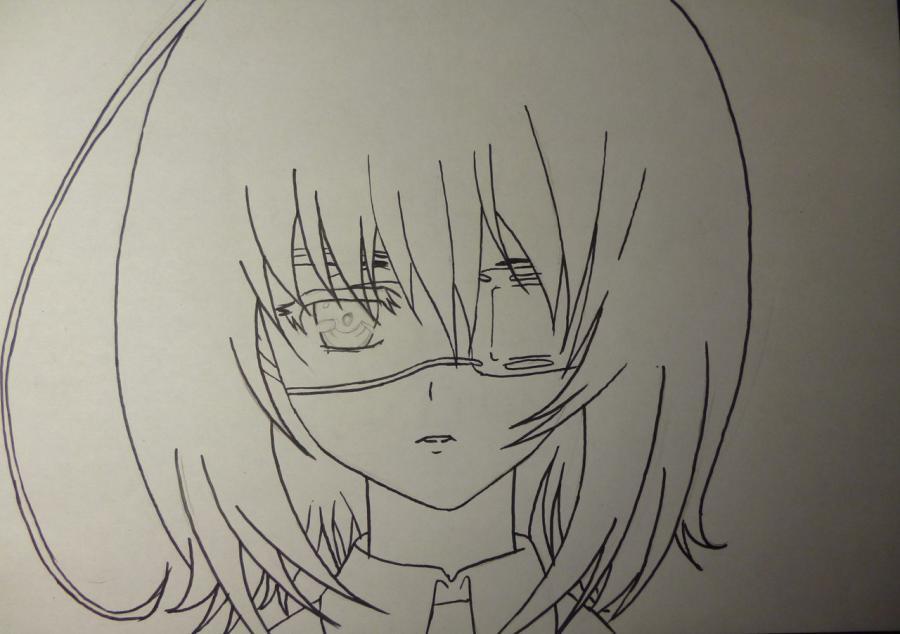 Как простым нарисовать Мэй Мисаки карандашами - шаг 4