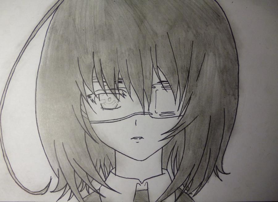 Как простым нарисовать Мэй Мисаки карандашами - фото 5