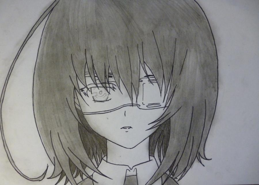 Как простым нарисовать Мэй Мисаки карандашами - фото 6