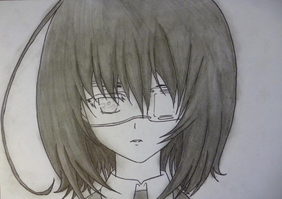 Как простым нарисовать Мэй Мисаки карандашами - фото 7