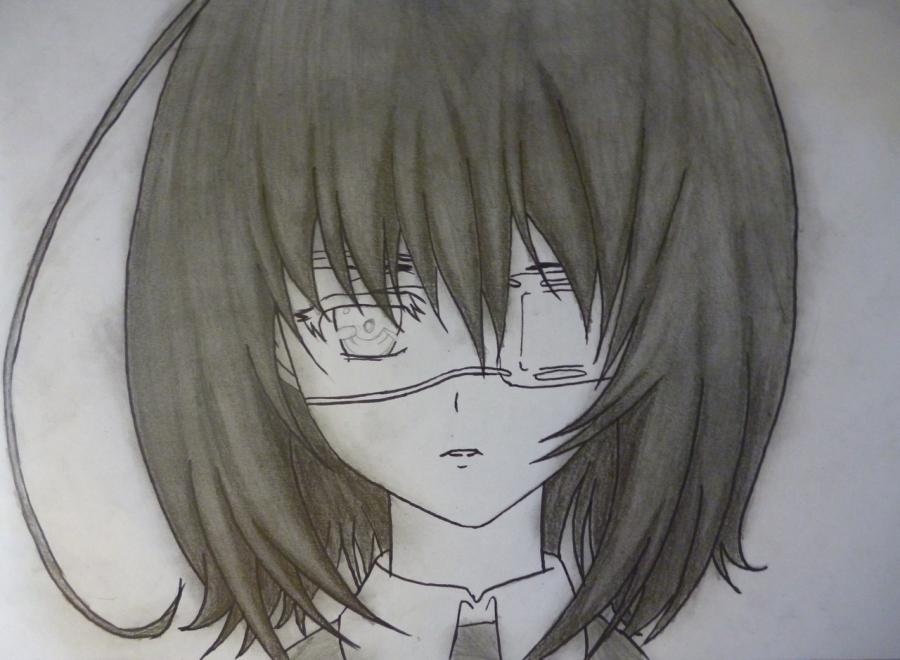 Как простым нарисовать Мэй Мисаки карандашами - фото 8