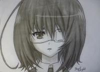 Как простым карандашом нарисовать Мисаки Мэй из аниме Иная