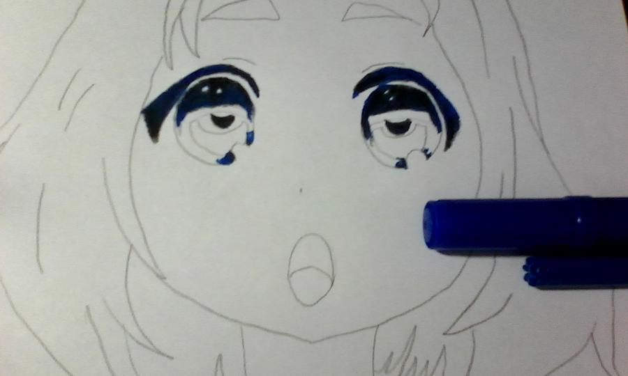 Как раскрасить аниме глаза фломастерами - шаг 3