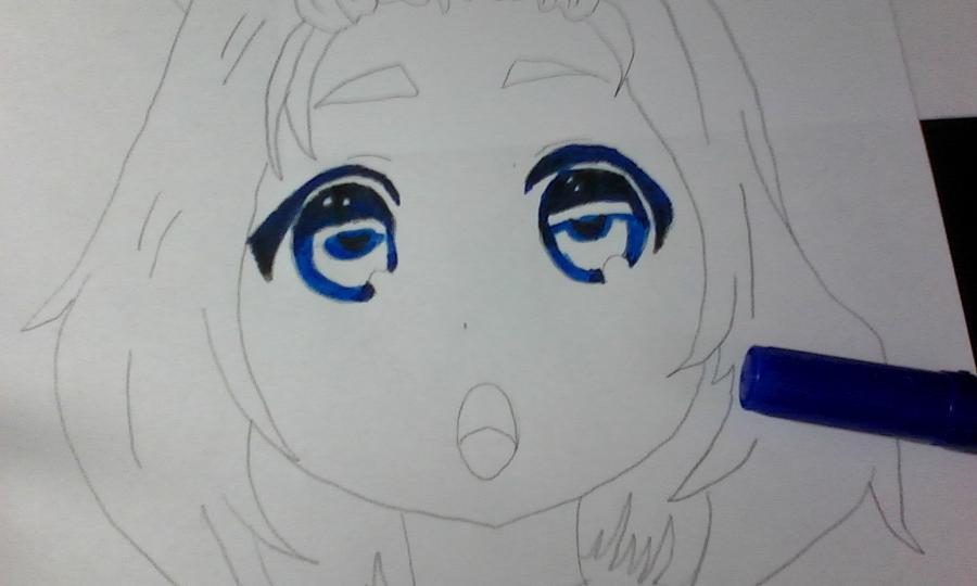 Как раскрасить аниме глаза фломастерами - шаг 4