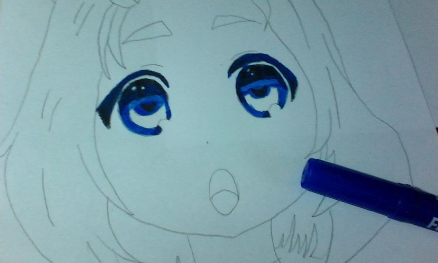 Как раскрасить аниме глаза фломастерами - шаг 5