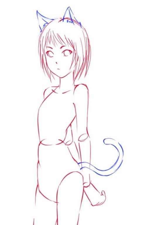 Как рисовать девушку-кошку в полный рост - шаг 3