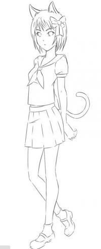 Как рисовать девушку-кошку в полный рост карандашом поэтапно