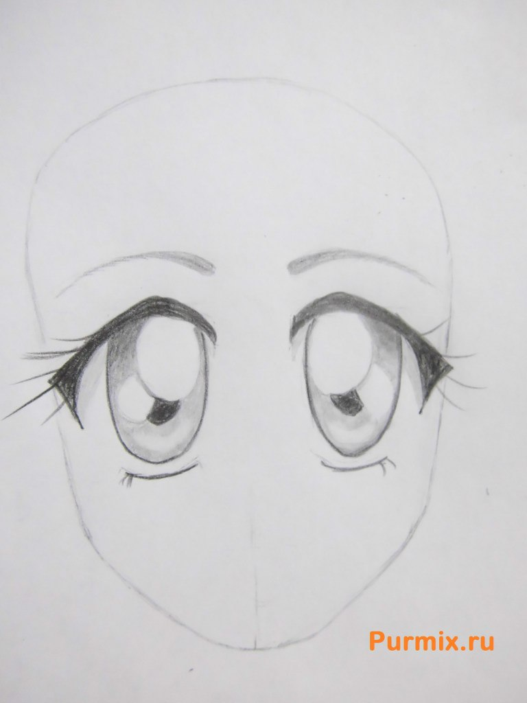 Рисуем аниме лицо девушки - шаг 14