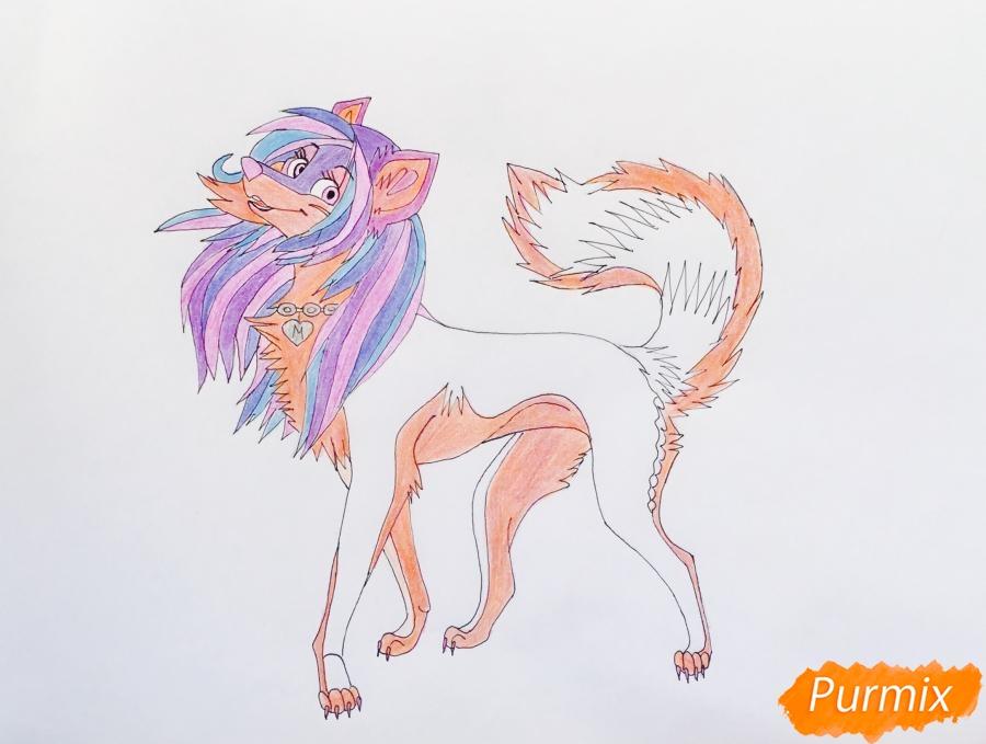 Разноцветная аниме волчица - шаг 11