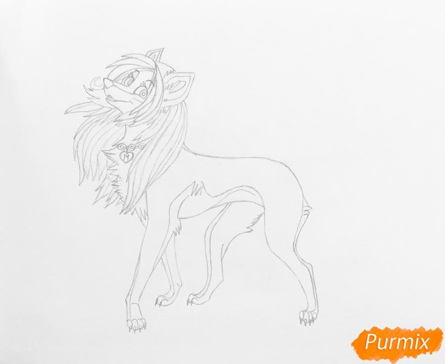 Разноцветная аниме волчица - шаг 6