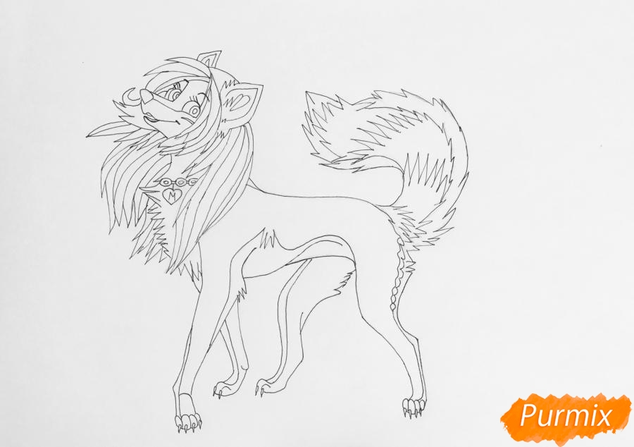 Разноцветная аниме волчица - шаг 8