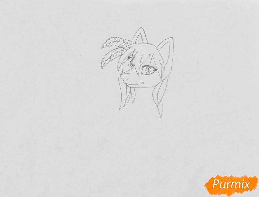 Рисуем  белую аниме волчицу в стиле индейца - шаг 3
