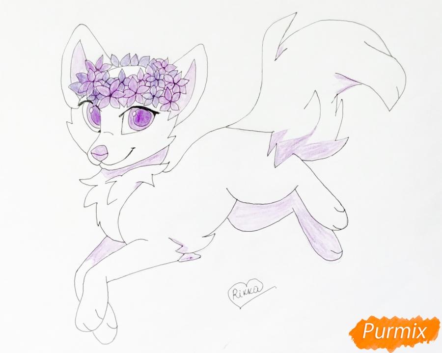 Рисуем бело фиолетовую аниме волчицу с венком на голове - шаг 10