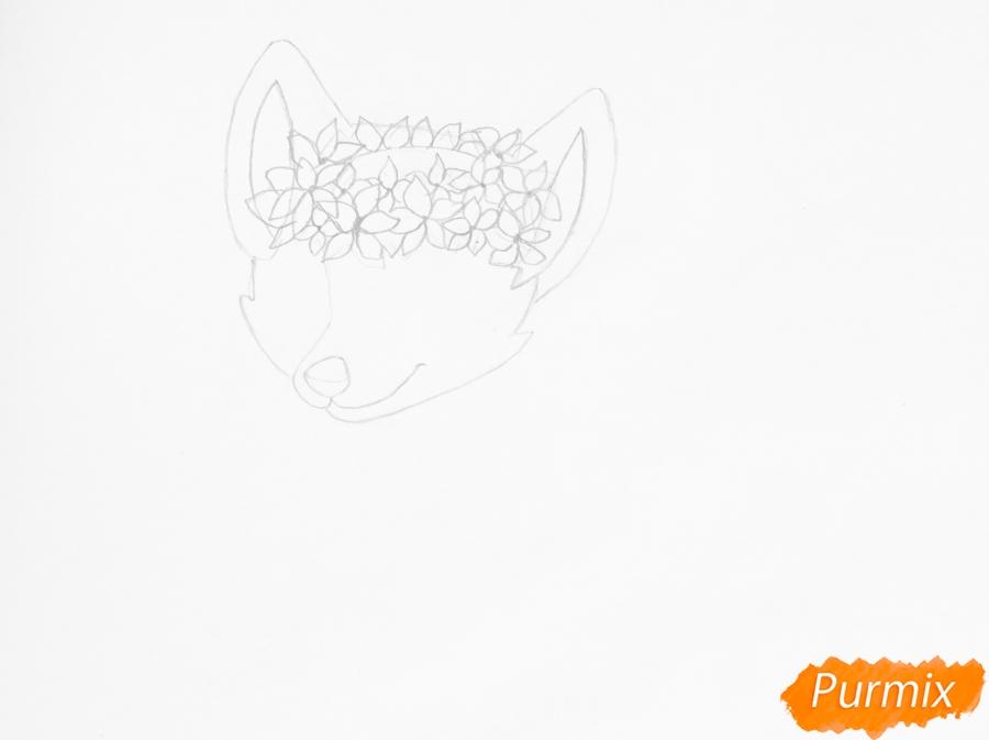 Рисуем бело фиолетовую аниме волчицу с венком на голове - шаг 3