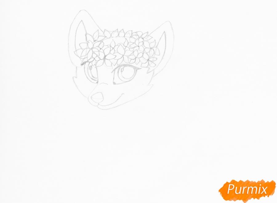 Рисуем бело фиолетовую аниме волчицу с венком на голове - шаг 4