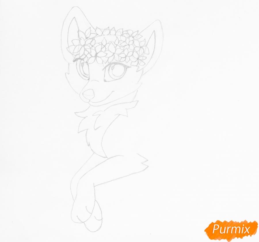 Рисуем бело фиолетовую аниме волчицу с венком на голове - шаг 5