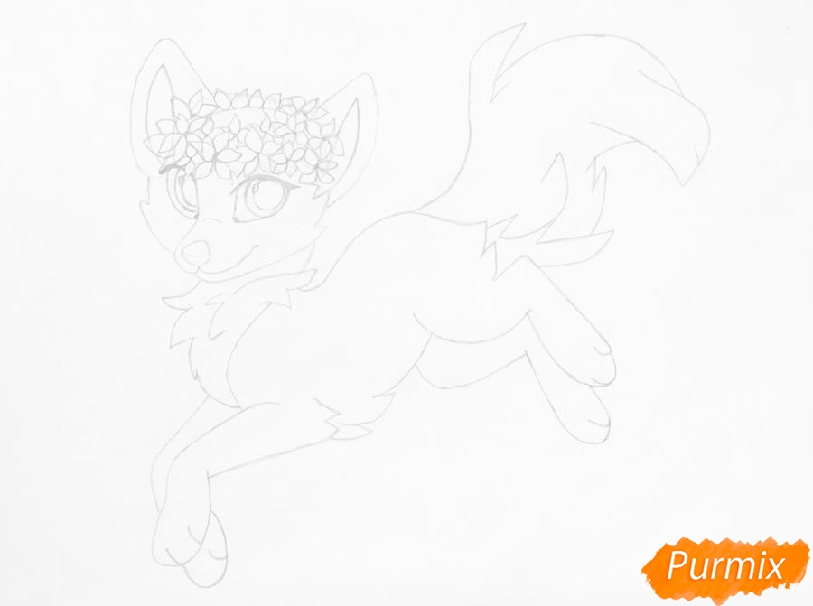 Рисуем бело фиолетовую аниме волчицу с венком на голове - шаг 7