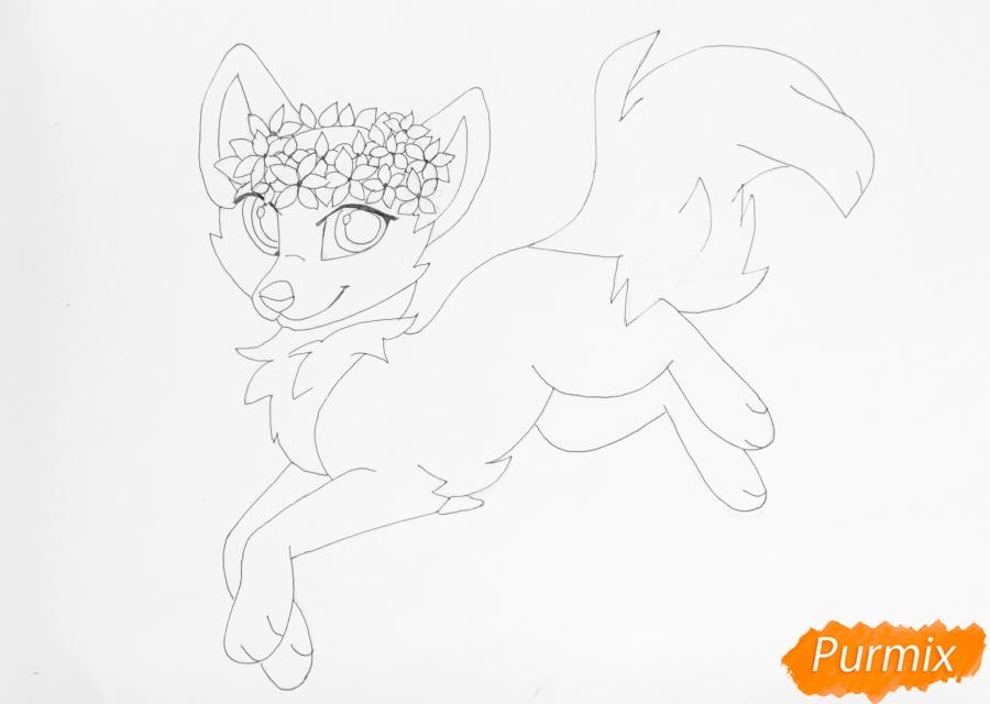 Рисуем бело фиолетовую аниме волчицу с венком на голове - шаг 8