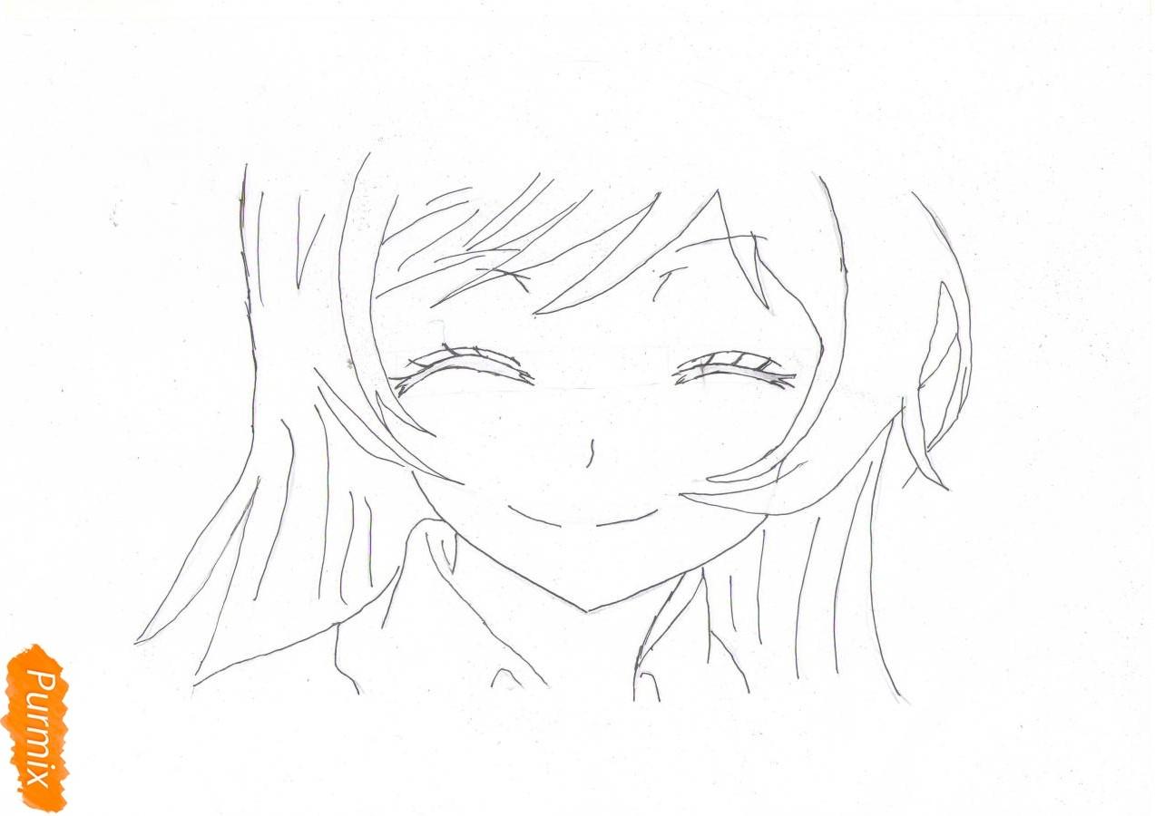 Учимся рисовать голову Нанами Момодзоно из аниме Очень приятно, Бог - шаг 3