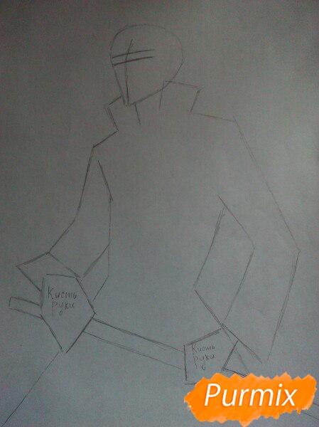 Рисуем Ичиго Куросаким в полный рост цветными карандашами - шаг 1