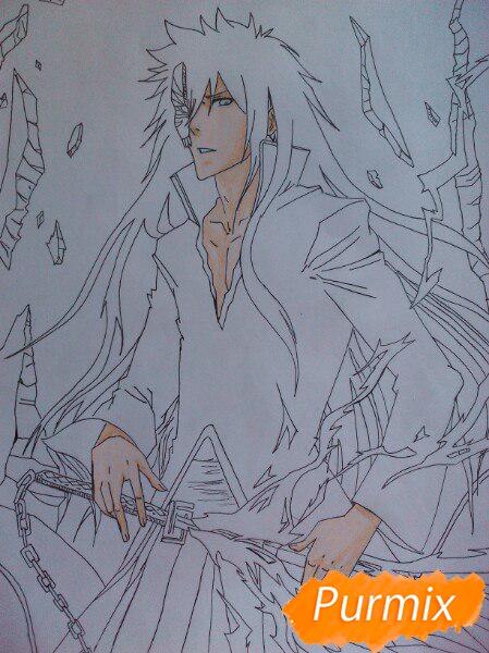 Учимся рисовать Ичиго Куросаки из аниме Блич карандашами шаг за шагом - шаг 11