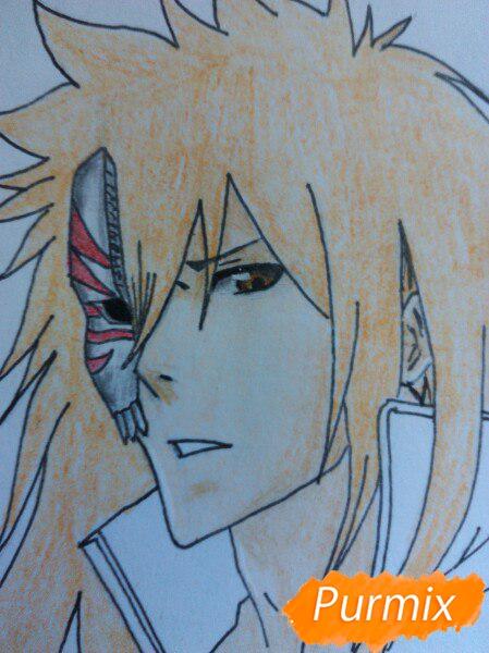 Рисуем Ичиго Куросаким в полный рост цветными карандашами - шаг 12
