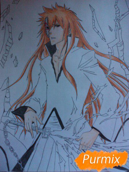 Учимся рисовать Ичиго Куросаки из аниме Блич карандашами шаг за шагом - шаг 14
