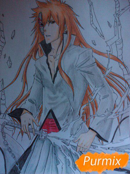 Рисуем Ичиго Куросаким в полный рост цветными карандашами - шаг 16