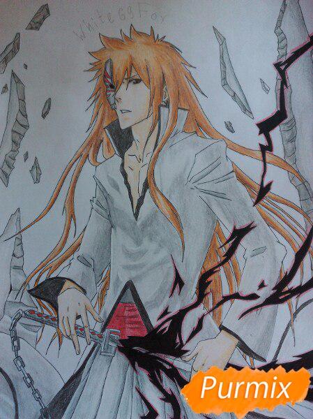 Рисуем Ичиго Куросаким в полный рост цветными карандашами - шаг 18