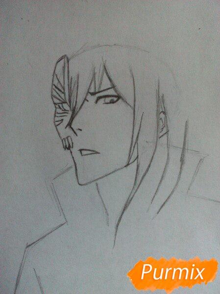 Учимся рисовать Ичиго Куросаки из аниме Блич карандашами шаг за шагом - шаг 2