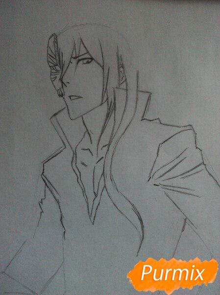 Учимся рисовать Ичиго Куросаки из аниме Блич карандашами шаг за шагом - шаг 3