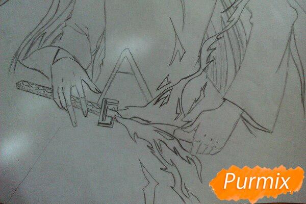 Учимся рисовать Ичиго Куросаки из аниме Блич карандашами шаг за шагом - шаг 6