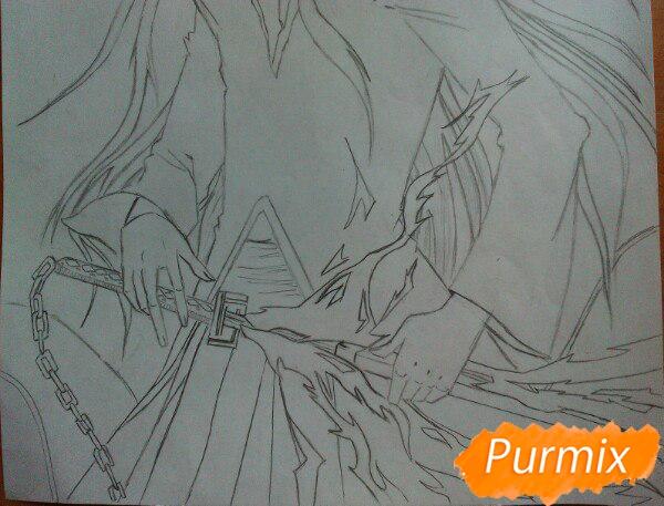 Учимся рисовать Ичиго Куросаки из аниме Блич карандашами шаг за шагом - шаг 7