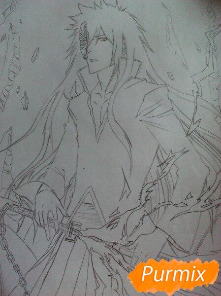 Учимся рисовать Ичиго Куросаки из аниме Блич карандашами шаг за шагом - шаг 9