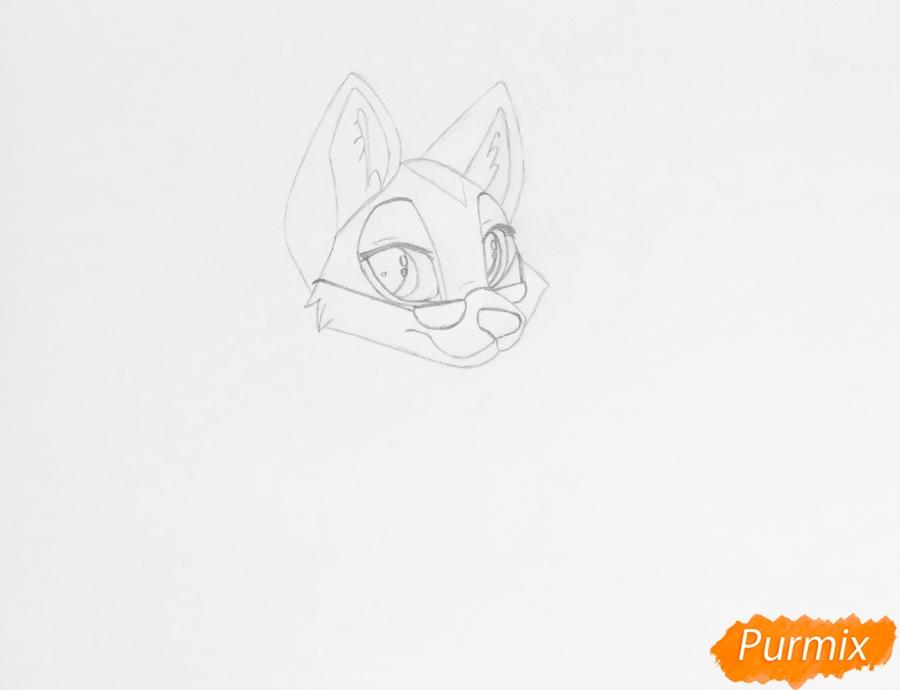 Рисуем кареглазую аниме собаку в очках - шаг 4