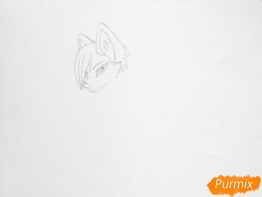 Рисуем коричнево голубую аниме кошку - шаг 2