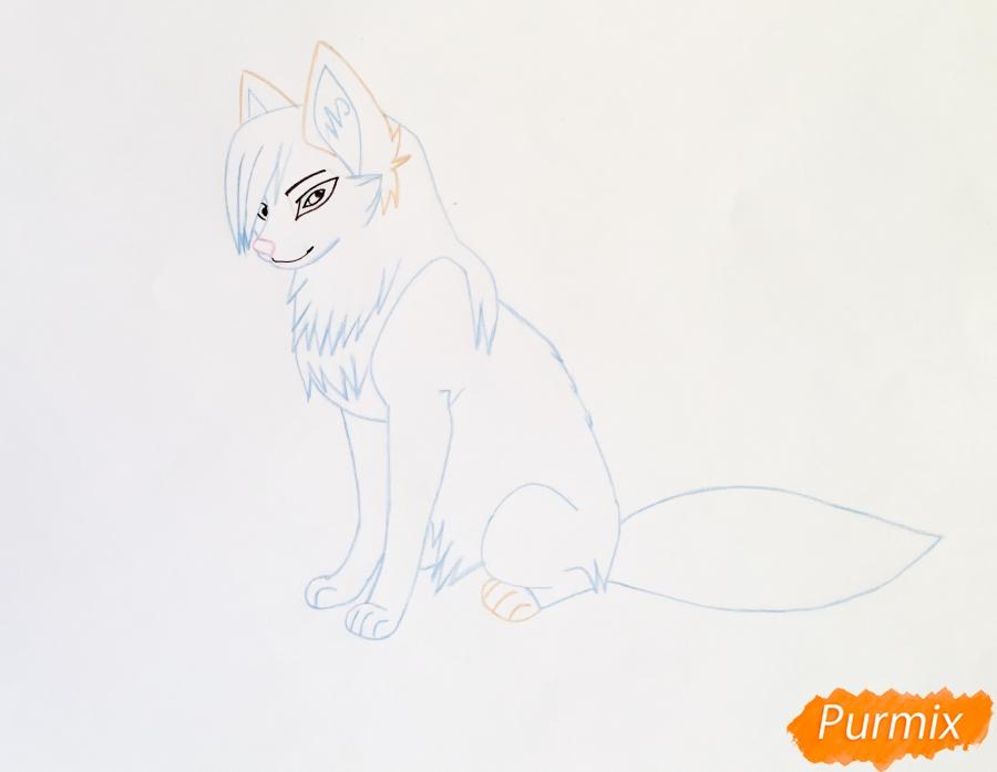 Рисуем коричнево голубую аниме кошку - шаг 5