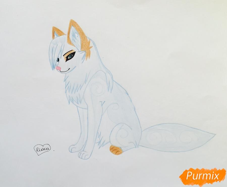 Рисуем коричнево голубую аниме кошку - шаг 8