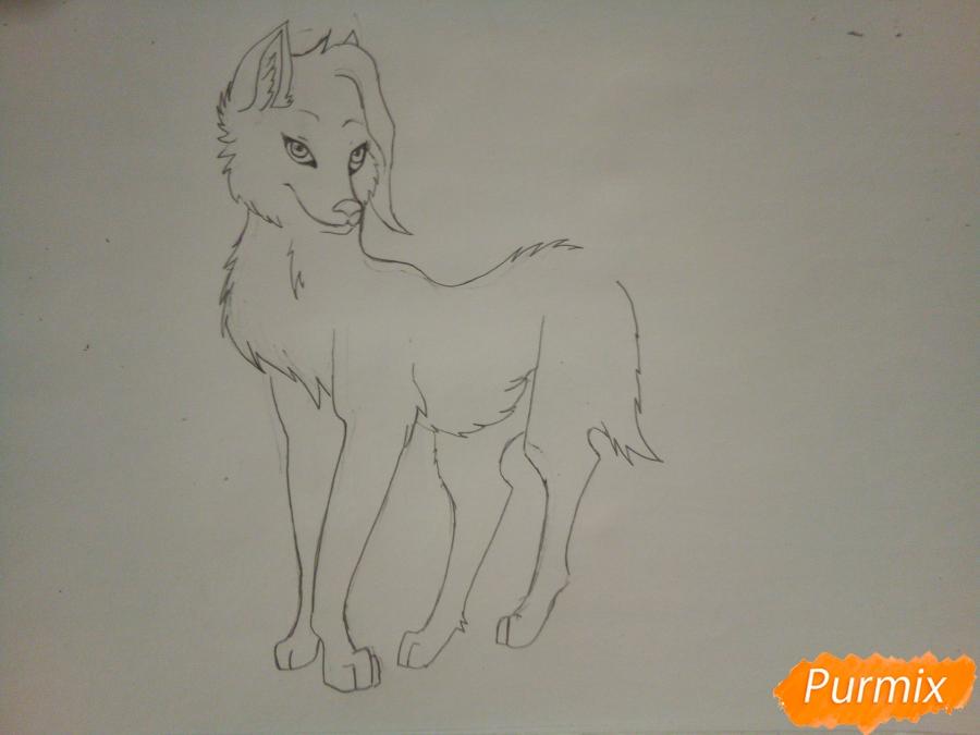 Рисуем ледяную волчицу в стиле аниме - шаг 5