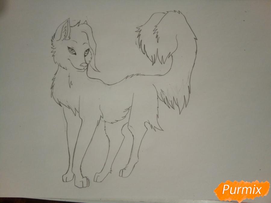 Рисуем ледяную волчицу в стиле аниме - шаг 6