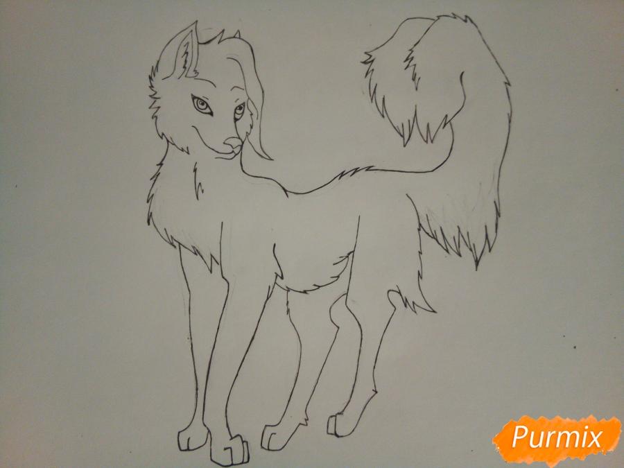 Рисуем ледяную волчицу в стиле аниме - шаг 7