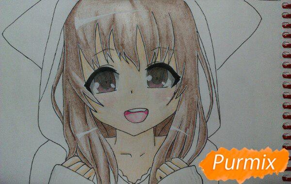Рисуем милую аниме девочку в кофте цветными карандашами - шаг 13