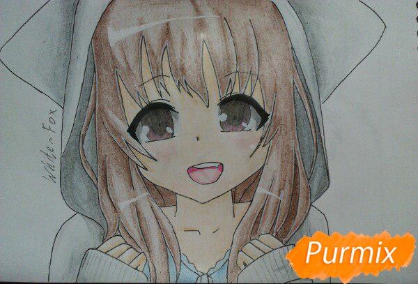 Рисуем милую аниме девочку в кофте цветными карандашами - шаг 15