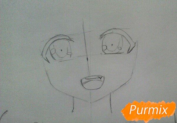 Рисуем милую аниме девочку в кофте цветными карандашами - шаг 3