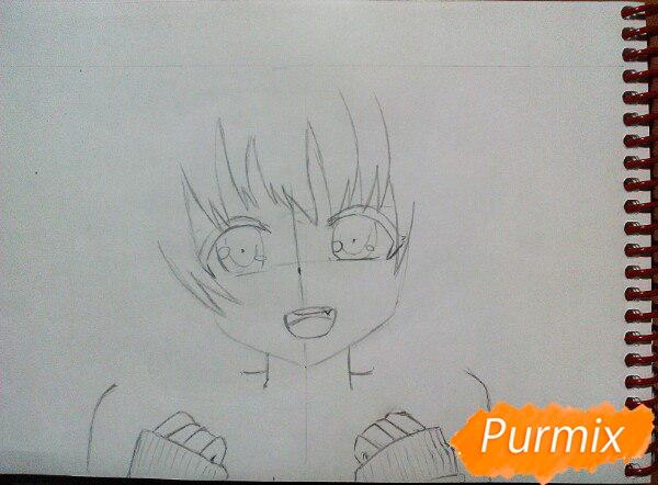 Рисуем милую аниме девочку в кофте цветными карандашами - шаг 4